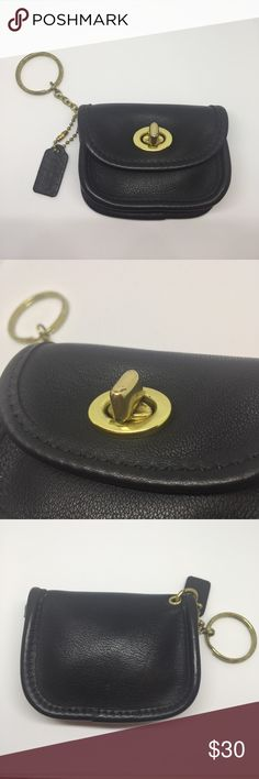 """Coach city fob keychain pouch Vintage COACH black leather city fob - style 7105 measures about 3.25""""x2.5""""x1.25""""; great little coin purse pouch great condition with the exception of a couple knicks on the turnlock/hardware  even has a mini coach hangtag! comes with free gold tone anchor keychain! smoke free home! Coach Accessories Key & Card Holders"""