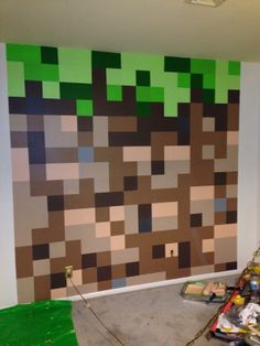 Minecraft Bedroom: Dirt Block Wall