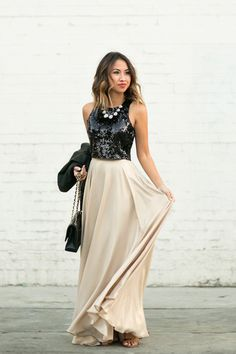 gold maxi skirt with basic glitter top to shine all the  night