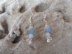 Filigree flower heads with aquamarine and moonstones by KANDYLEES