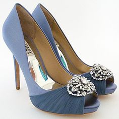 Badgley Mischka Shoes. Desi in blue haze offers a sophisticated shade of blue for brides