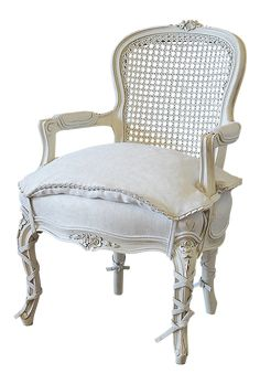 View this item and discover similar for sale at - century French style Louis XV cane back childs chair. Beautifully painted chair in our oyster white finish, with subtle distressed edges, and finished Cute Living Room, Living Room Chairs, Cane Back Chairs, Side Chairs, White Furniture, Furniture Design, Brown Leather Recliner, Wooden Adirondack Chairs, Floor Protectors For Chairs