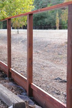 simply organized: outdoor update: deer fence- This would be beautiful around the garden/chicken area.  Would need to bury the bottom a bit to keep the diggers out.