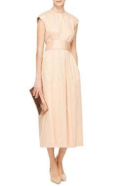 Pale Pink Belted Midi Dress With Pleats by Rochas - Moda Operandi