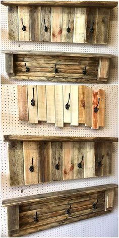 Design out the simplest pallet craft for your place. This pallet coat rack idea is wonderfully designed with some wooden pallet stackings arrangements. The use of black shining hooks is giving it the most beautiful appearance. You will definitely find it Reclaimed Wood Projects, Diy Pallet Projects, Pallet Diy Easy, Simple Wood Projects, Recycled Pallets, Wooden Pallets, Pallet Wood, Outdoor Pallet, Wood Wood