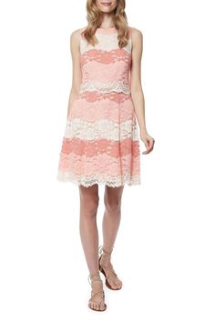 Coral lace sleeveless a-line dress with popover in contrasting coral garden lace and scalloped hem with exposed zip at back.  Pair with flat sandals or neutral shoes. Beckley Lace Dress by Erin Fetherston. Clothing Back Bay, Boston, Massachusetts