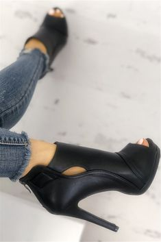 Shop Fashion Peep Toe Cutout Thin Heels right now, get great deals at Chiquedoll High Heel Sneakers, Sneaker Heels, High Heel Boots, Shoe Boots, Ankle Boots, Casual Sneakers, Blue Court Shoes, Mode Shoes, Comfortable Heels