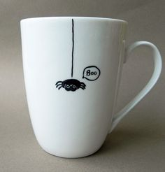 Little black spider cute hand painted mug boo by PaintMyName, $27.00
