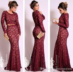 2014 Long Sleeves Burgundy Lace Two pieces Evening Dresses Oscar Celebrity Dresses Mermaid Scoop Neck Vintage Floor Length Prom Formal Gowns