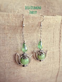 Grove Green Teapot Earrings, Candy Grove Garden Teapots, Time for Tea Jewellery, Long Chains Earrings, Handmade Antique Silver Teapots by JusiaDiamondJewelry on Etsy https://www.etsy.com/listing/268881670/grove-green-teapot-earrings-candy-grove
