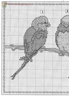Borduurpatroon Kruissteek Papegaai - Parkiet *Embroidery Cross Stitch Pattern Parrot ~Parkieten op tak 3/8~