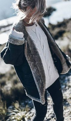 what to wear with a knit sweater : jacket + black skinnies