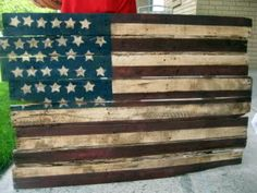flag made out of a wood pallet
