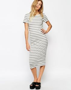 Only Striped Midi Jersey Dress