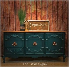 Hollywood Regency Peacock Teal French Provincial Dresser - blue painted furniture - blue painted dresser