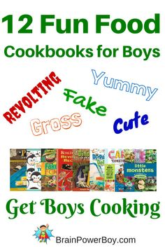 Get boys cooking with these fun food cookbooks boys will love. A dozen fun food cookbooks filled with neat ideas.
