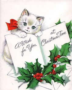 "Vintage Christmas kitten - ""A Wish for You at Christmas Time"""