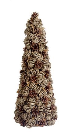 """26"""" Eco Country Pine Cone Jute Twig & Leaf Christmas Topiary Cone Tree - Unlit"""