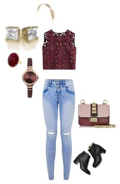 """""""High-waisted Jeans, Crop Top"""" by kyndal-bliss on Polyvore featuring Valentino, Alberta Ferretti, Emporio Armani, Paul Andrew, Wet Seal, DayToNight, croptop, highwaistedjeans and marsala"""