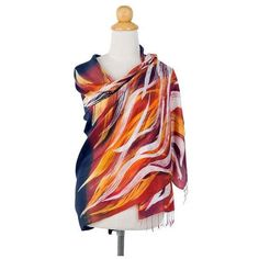 NOVICA Black 100% Silk Batik Shawl with Orange and Yellow ($60) ❤ liked on Polyvore featuring accessories, scarves, black, clothing & accessories, shawls, novica, orange silk scarves, pure silk scarves, batik scarves and shawl scarves