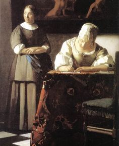 Jan Vermeer >> Lady Writing a Letter with Her Maid (detail)   (Oil, artwork, reproduction, copy, painting). 1670