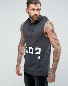 ASOS Longline Sleeveless Hooded T-Shirt With Number Print And Kangaroo Pocket