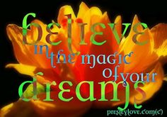 Believe in the magic of your dreams.