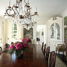 Old World Dining Room Design. Love the idea of a wall mural. White. Clean. Sophisticated. Love the built-in corner cabinets, too.