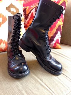 Vintage 1970s Double H H Brand Combat Boots Cap by posiesforlulu, $119.00