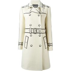 Boutique Moschino Trompe Loeil Double Breasted Coat ($2,123) ❤ liked on Polyvore featuring outerwear, coats, white, double-breasted coat, long sleeve coat, white double breasted coat and white coat