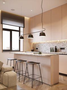 How To Use Terrazzo In Interior Design: 4 Examples House Design, White Kitchen Units, Interior, Terrazzo, Interior Design Kitchen, Dining Room Wallpaper, Minimalist Kitchen, Interior Design, Kitchen Design