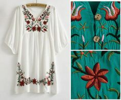 New 2013 Free Shipping vintage 70s mexican Ethnic Floral EMBROIDERED Hippie Blouse DRESS women clothing vestidos S M L plus size