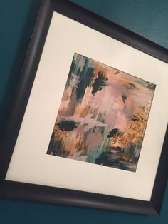 Abstract Teal and Gold Giclee Art Print More by BrushedInBold