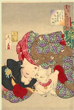 """Yoshitoshi (32 Aspects of Women) - """"Looking tiresome: the appearance of a virgin of the Kansei era"""" (1789-1801)"""