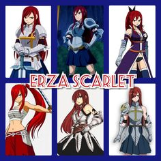 Erza through out the years in Fairy Tail.