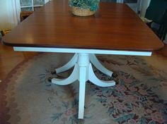 Dining Table Before And After (Plus Tutorial) - An Oregon Cottage   An Oregon Cottage---talks about a prestain which I have never heard of--this table is almost exactly like one I have that I want to paint black