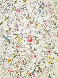 William Kilburn: Wild flowers design for silk material, 1790.