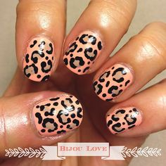 Back to nail art! Found this awesome creamy peach color, SCORE! Decided to make a come back from my nail art break with this simple pattern. #nailart #shortnails #naturalnails #manicure #leopardprint #peachy #rhonnadesigns