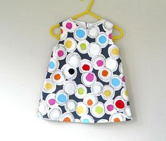 toddler girls dress A line dress retro style made to by SillyHorse, $32.00