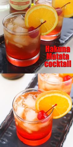 Hakuna Matata cocktailThis Hakuna Matata Rum cocktail is a delicious Disney cocktail recipe and looks like a beautiful African sunset. It has a pleasant tropical taste cocktailrecipe rumcocktail lionking recipevideoCocktails 2 - drinks - cocktails Disney Cocktails, Cocktail Disney, Halloween Cocktails, Christmas Cocktails, Cherry Cocktails, Champaign Cocktails, Guava Cocktail Recipes, Disney Alcoholic Drinks, Tropical Alcoholic Drinks