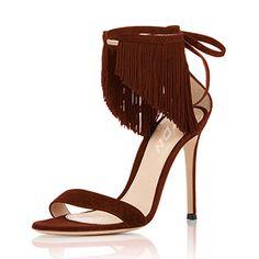 f08460d905ea YDN Women Heels Sandals Open Toe Stilettos Ankle Strap Shoes with Fringe  size 14 --