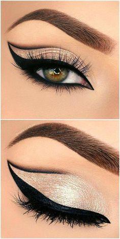 Eyeliner Trends, Eyeliner Hacks, No Eyeliner Makeup, Skin Makeup, Glitter Makeup, Gold Glitter, Eyeliner Pencil, Glitter Eyebrows, Eye Brows