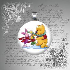 25mm Pooh Piglet Christmas domed glass tile by petalsofgrace, $7.99