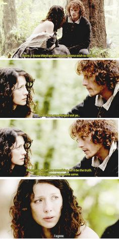 """""""When you do tell me something, let it be the truth. And I'll promise you the same"""" - Jamie and Claire #Outlander"""