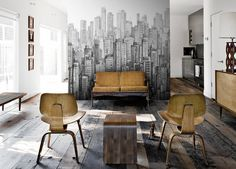 Black and white City wall mural | Peel & Stick city wallpaper