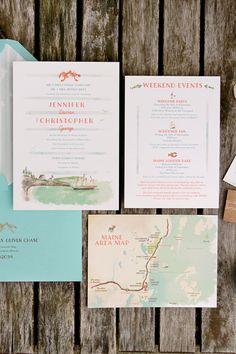 Handpainted wedding invitation suite in coastal Maine     Anticipate Invitations