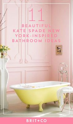 Save this to discover 11 gorgeous Kate Spade New York-inspired bathrooms.