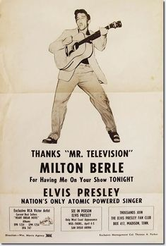 Elvis flyer advertising his appearance on Milton Berle's show on April 3, 1956