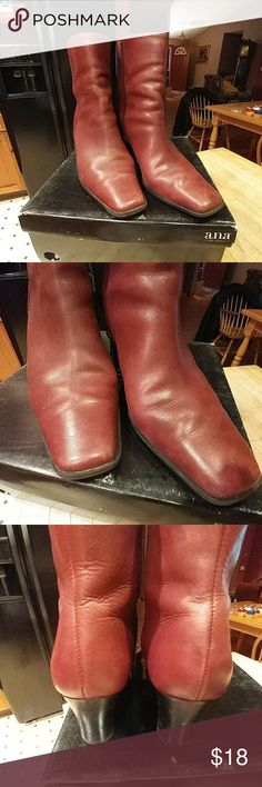 Burgandy ankle boot by a.n.a. Loved Burgandy leather broken in just the way you like them. Ankle boot by a.n.a.  Soft buttery leather, size 9. a.n.a Shoes Ankle Boots & Booties