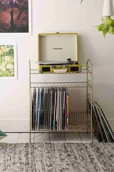 Vinyl record storage shelf - urban outfitters turntable, home decoration, record player Vinyl Record Storage Shelf, Storage Shelves, Vinyl Shelf, Storage Rack, Diy Vinyl Storage, Dorm Storage, Casa Retro, Room Goals, My New Room